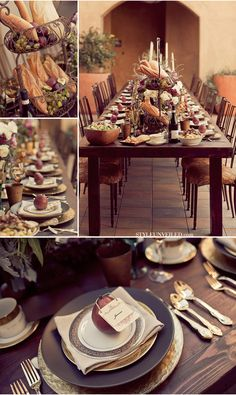 Tuscan style wedding reception table decor