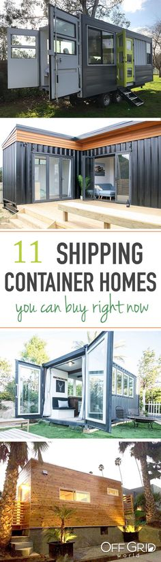 11 Shipping Container Homes You Can Buy Right Now - Build Container Home Container Home Designs, Container Cabin, Storage Container Homes, Container House Plans, Shipping Container Homes, Shipping Containers, Prefab Container Homes, Sea Container Homes, Storage Containers