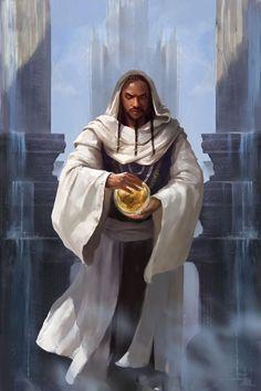 black man male robe cleric sorcerer mage magic-user faith priest poc moc character art fantasy -- Shanks - Humano O lendário Rei de Dalkia