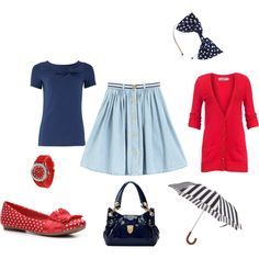 Navy and Red, created by #beccalbb on #polyvore. #fashion #style Soaked in Luxury #Mulberry