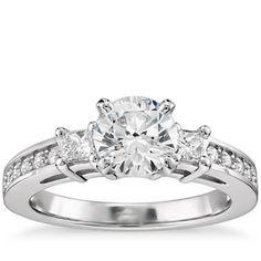 1 Carat Preset Trio Pave Diamond Engagement Ring in 14k White Gold