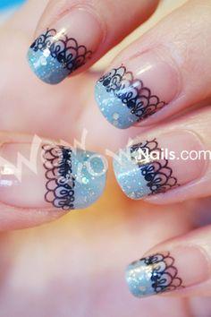 blue tips with lace   #nail design #nail art #polish