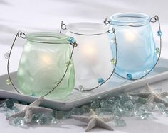 Sea Glass Lanterns - Spring Summer Tablescape