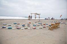 Carlsbad CA beach wedding.  Love the Pillows and beach mats!