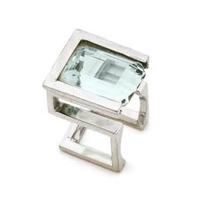 Aquamarine and White Gold Ring by Jean Vendome ca. 1966