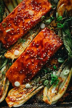 This super-simple sheet pan dinner of salmon bok choy is healthful and delicious for an impressive dish to serve guests or a good-for-you meal!