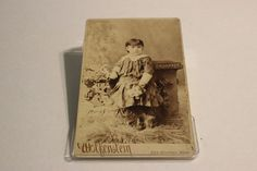 Antique Cabinet Card Photo Wolfenstein Child Flower New Bedford Mass