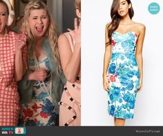 Chanel 5's blue and red floral dress on Scream Queens.  Outfit Details: http://wornontv.net/53794/ #ScreamQueens