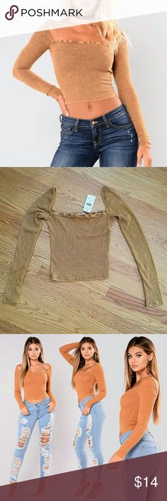 NWT Fashion Nova Adriana Ribbed Square Crop Top M Never worn, just wasn't my color.  Beautifully shows off the collar bone area.  Very soft.  Runs small and stretches to fit.  I'm a size 4 and size large fits like the model.    Mustard (actual photo is most accurate) Square Neck Long Sleeve Top 62% Polyester 34% Rayon 4% Spandex Made in USA Fashion Nova Tops Tees - Long Sleeve