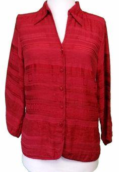 Talbots Button up Shirt  Red textured Womens sz 6 M medium #Talbots #ButtonDownShirt #Career