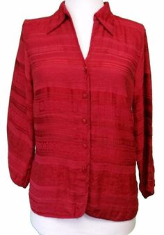 Talbots Top Blouse Shirt Button Jacket Red 3/4 Sleeve Textured Womens size 6 M #Talbots #Blouse #Career