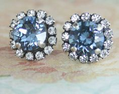 Bridal earrings,Blue Bridal earrings,Dusty blue wedding,Swarovski Crystal Stud earrings,Blue crystal earrings,Crystal earrings,Dusty Blue  Versatile stud for day, night, weddings, parties and formals/proms.  Please note this is the new batch of Dusty blue crystals (photo 1) and they are a little darker/bluer than the previous batch. These crystals are custom made and colour varies between each batch  The mannequin photo is for size reference.  Perfect for dusty blue or powder blue bridesmaid…