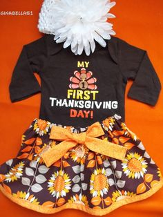 My First Thanksgiving baby girl outfit onesie Gobble 1st Turkey Day dress skirt baby shower size newborn 0 3 6 9 months toddler bow headband on Etsy, $29.50
