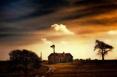 farmhouse Time Tested, Old Houses, Abandoned, Farmhouse, Clouds, Seasons, Sunset, Future, Travel