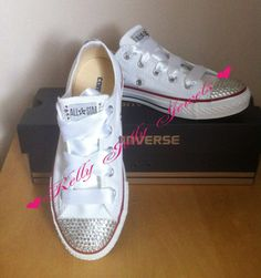 Converse / Vans / Nike / Pumps / Flats Silver Swarovski Diamonte / Diamante or any other colour Hand Made To Order