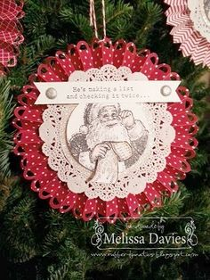 Santa Rosette with FREE TUTORIAL by Melissa Davies @ rubberfunatics