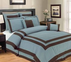 """With Love Home Decor - 12pc Bed-in-a-Bag Harriet Blue-Includes 600TC Sheet Set!,   12 Piece - Super Soft Fabric  1 Comforter- Sizes are:Queen 90""""x92""""/ King & Cal King 106""""x90"""" 2 Pillow Shams 2 Decorative Pillows 2 Euro Shams 1 Skirt - Queen 60""""x80""""x14""""/ King 78""""x80""""x14"""" /Ck 72x84x14"""""""