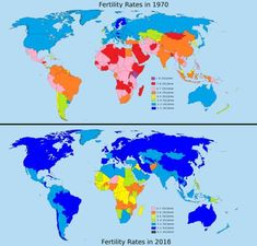 Fertility Rates in the World, 1970 vs 2016.