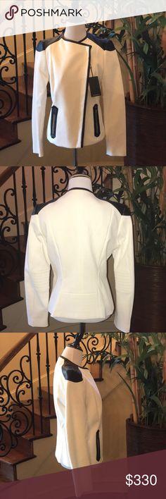 Hugo Boss  Kalisha Jacket Brand New  extremely stylish Women's Hugo Boss  Kalisha Jacket trimmed in 100%leather Size 6 Hugo Boss Jackets & Coats