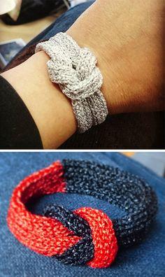 5ffc57166006b4 Free Knitting Pattern for Simple Glamour Bracelet Yarn Bracelets, Knit  Bracelet, Knitted Necklace,
