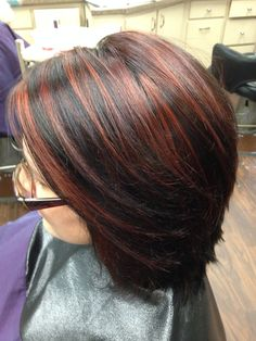 Red highlights with a dark brown base color.  Great look for fall!
