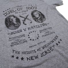 "Declaration Clothing ""The Duel"" Alexander Hamilton vs. Aaron Burr Tee Shirt, Size XX-Large, $28 via DeclarationClothing.Com"