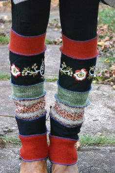 Harry and the Hippe Chic ooak Upcycled floral embroidery leg warmers by harryandthehippechic, $32.00