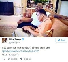 Kenangan Mike Tyson dan Muhammad Ali Kecintaannya Pada Al-Quran  Petinju legendaris Muhammad Ali tutup usia di umur 74 tahun pada Jumat (3/6/2016). Petinju legendaris lainnya si leher beton Mike Tyson mengenang dan menyebut Ali sebagai Yang Terhebat. God came for his champion. So long great one. @MuhammadAli #TheGreatest #RIP kicau Mike Tyson di akun twitternya Sabtu (4/6/2016). Bersama kicauan itu Tyson yang bernama muslim Malik Abdul Aziz mengunggah foto kenangannya bersama Ali. Dalam foto…