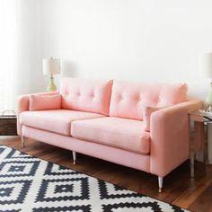 KARLSTAD SOFA IKEA HACK: Mid-Century Inspired Pink Sofa