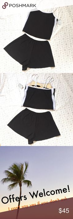 """NWT black & white tankini - Size: 20W - Material: 90% polyester, 10% spandex  - Condition: NWT - Color: black & white - Style: tankini; bottoms are flowy shorts  - Pair with: sandals and a beach towel - Extra notes: supportive bra inside  *Measurements:  Bust: 19"""" flat Hips: 15"""" flat with elastic stretchy waistband  💥💥💥OFFERS WELCOME💥💥💥 resorts PLUS Swim Bikinis"""
