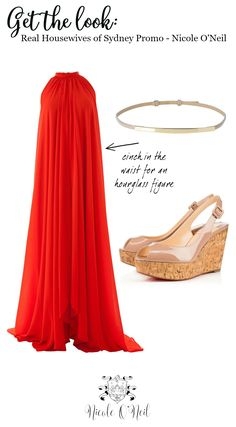 Get The Look: Red Dress Outfit | Be Inspired by this gorgeous red chiffon dress look as worn by Nicole O'Neil on the Real Housewives of Sydney premiere. Cinched in at the waist with a Reiss leather belt to give you an hourglass figure, it's the perfect outfit for your next wedding, event, bridal shower, cocktail party, formal or special occasion | Peep Toe Striped Christian Louboutins, Gold and Diamond Accessories and Saloni London Irina Gown.