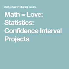 This year, I had the privilege to teach a non-AP statistics class for high school juniors and seniors who had finished Algebra 2 and were no. Math Teacher, Teaching Math, Ap Statistics, Love Math, Equality, Confidence, High School, Projects, Blog