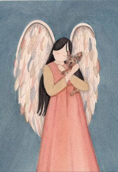 Yorkie cradled by angel / Lynch signed folk art by watercolorqueen,