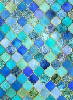 ○ Mosaic Tiles in Aquas and Blues