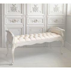 Charmant Provencal White Long Stool   Shabby Chic French Bedroom Bench On Sale Now