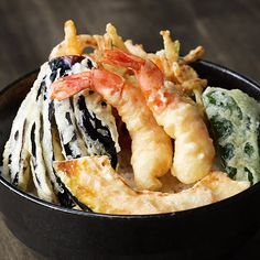 Kakiage Tempura Don Recipe by Tasty Don Recipe, Tempura Recipe, Tempura Sauce, Shrimp Tempura, Shrimp And Vegetables, Tasty, Yummy Food, Ham And Cheese, Junk Food