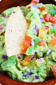 Pineapple Guacamole Recipe - mmm, grill up that organic pineapple and mash up avocados...it's almost Cinco de Mayo!