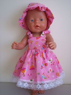 BABY BORN DOLLS CLOTHES PINK SUMMER OUTFIT WITH PRINCESSES ON IT