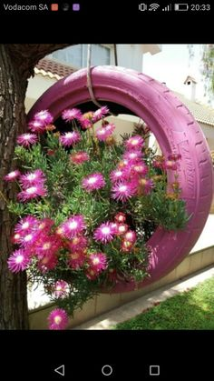 Recycled Tire Planter for Balcony / Garden - Balcony Decoration Ideas in Every U. Recycled Tire Planter for Balcony / Garden – Balcony Decoration Ideas in Every U… Tire Garden, Garden Yard Ideas, Garden Crafts, Diy Garden Decor, Lawn And Garden, Garden Projects, Garden Art, Garden Design, Balcony Garden