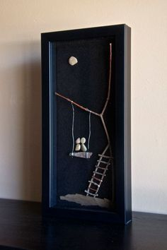"""Items similar to Awesome Shadowbox Art - Made of Sticks and Stones - """"Together Forever"""" - on Etsy - Krishna Shadow Box Kunst, Shadow Box Art, Stone Crafts, Rock Crafts, Twig Art, Pebble Art Family, Stick Art, Rock And Pebbles, Ideias Diy"""