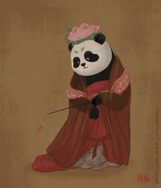 Here at Bored Panda, we're pretty much obsessed with two things - pandas, and art. When a Chinese illustrator combined them together to put a fun twist on Panda Love, Cute Panda, Art Sketches, Art Drawings, Panda Art, Chef D Oeuvre, Character Design Animation, Chinese Painting, Chinese Art