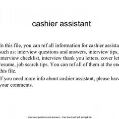 interview questions and answers free download pdf and ppt file cashier assistant in this - Sales Associate Sales Assistant Interview Questions And Answers