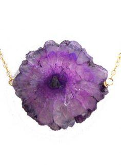 Purple Solar Quartz Stalactite Slice Necklace,  Jewelry, stalactite solar quartz gold drusy druzy, Bohemian (Boho) / Hippie
