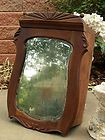 AWESOME OLD WOOD ANTIQUE MEDICINE CABINET w/sHaBbY MIRROR!~CARVED~CURVY~c1900!