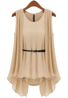 Nude Pink Pleated Layer - Belted Chiffon Top