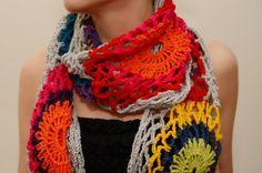 Crochet scarf multicolour,grey red pink purple yellow orange green blue