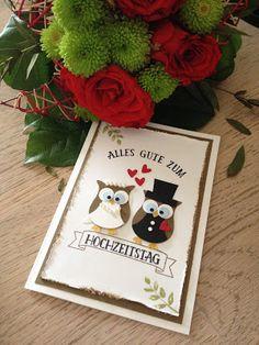 Stempellicht: Hochzeitskarte mit Eulenstanze