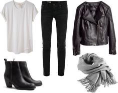 Style: Minimal + Classic: casual everyday with boots, jeans, tee & leather jacket