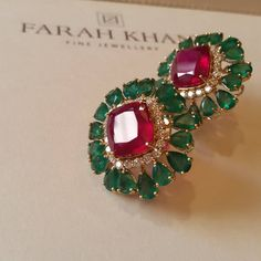 How I love combining colours and lustres. 😍😍😍 Especially strong colours that are vibrant and alive We will be displaying our jewellery in BAHRAIN at JEWELLERY ARABIA 2015 from November to Booth no Do drop in and see our stunning collection. Ruby Jewelry, Emerald Earrings, India Jewelry, Stone Jewelry, Wedding Jewelry, Gold Jewelry, Antique Jewelry, Jewellery Box, Stud Earrings