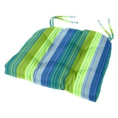Cushion Source Sunbrella Striped 18 x 16 in. Tufted Chair Cushion Seville Seaside - GGEDG-5608